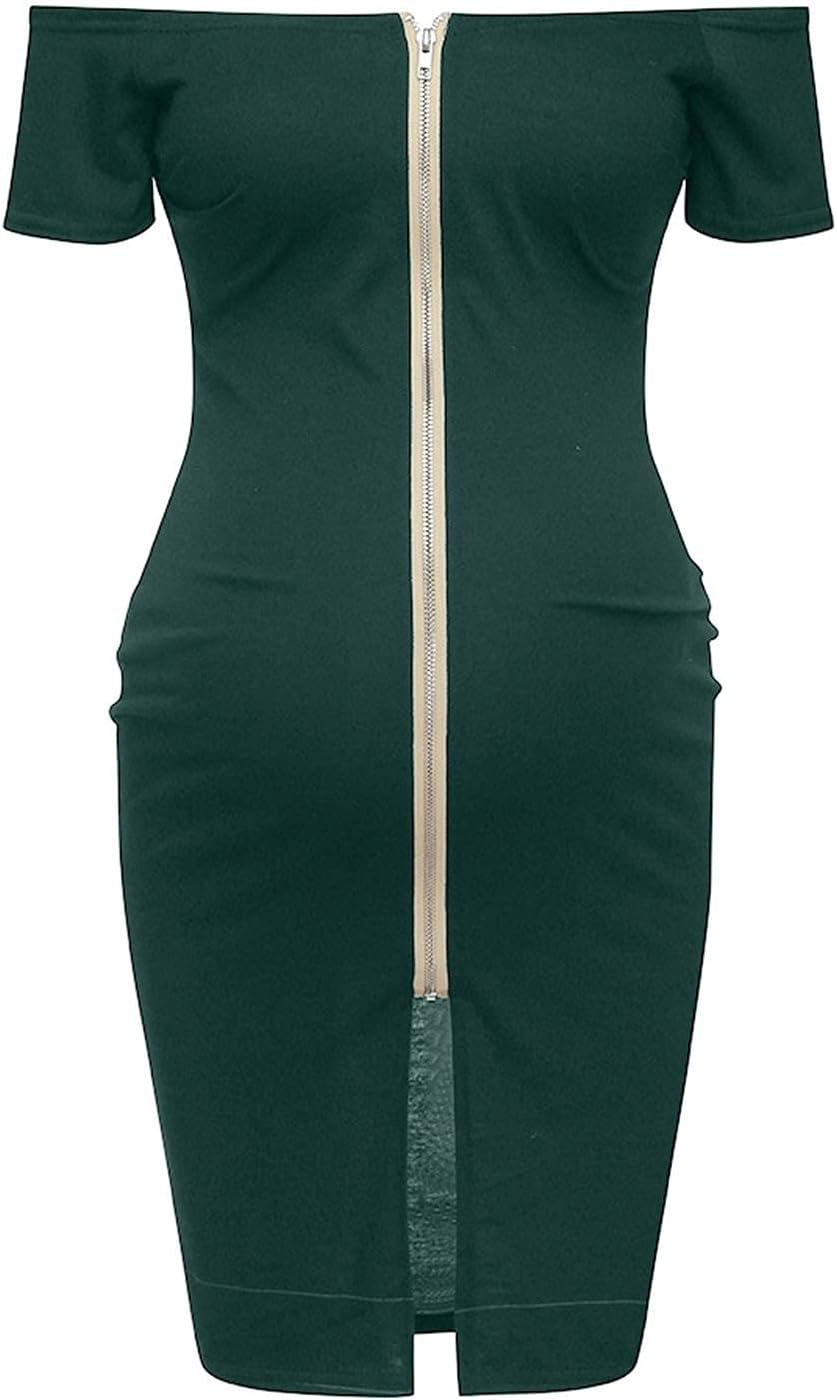 Pregnancy Dress for Women Long Beach Mall Summer Bargain sale Shoulder Solid One Zipper