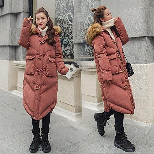 Xuanku Vestes d'hiver pour Femmes en Plumes Cheveux Coton T-Shirt Femme Longue Section du Genou Klaxons De Pain pour Les Vêtements De Coton Femme