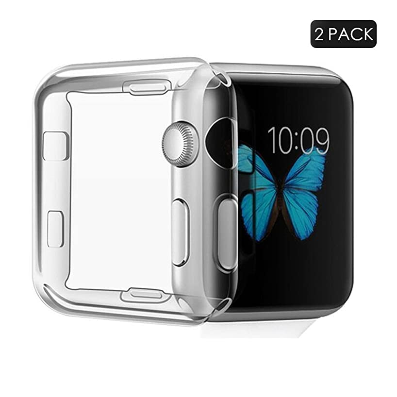 OceanPize 38mm Screen Protector Case Compatible with Apple Watch, iWatch Protective Case TPU HD Clear Ultra-Thin Cover for Apple Watch Series 3, Series 2 [2 Pack]