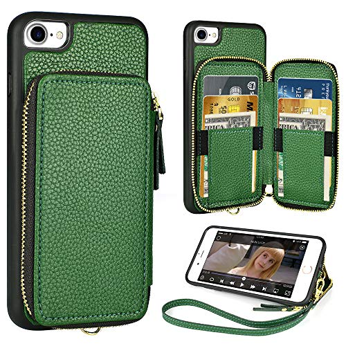 iPhone 8 Wallet Case,4.7 inch,ZVE iPhone 7 Zipper Wallet Case with Credit Card Holder Slot Wrist Strap Protective Handbag Purse Case for Apple iPhone 7and 8 4.7 inch - Dark Green