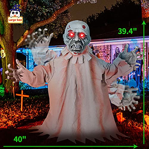 Halloween Outdoor Decorations, Light Up Zombie Groundbreaker Décor, Creepy Scary AnimatedSound Effect and Motion for Hallomas Haunted House, Lawn, Yard Prop