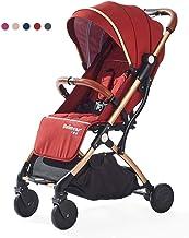 L@LILI Cochecito de bebé, Silla de Paseo Infantil Plegable con arnés de Seguridad de 5 Puntos, Asiento reclinable de Varias Posiciones,f
