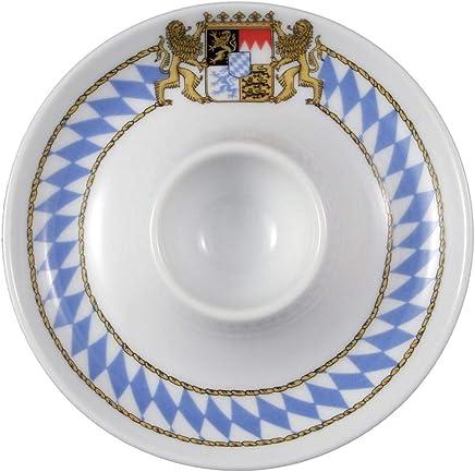 Preisvergleich für Seltmann Weiden Eierbecher mit Ablage Compact Bayern, Hartporzellan, Blau/Weiß/Gelb/Rot, 12.5 x 12.5 x 2.5 cm