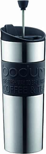 Bodum Travel Press, Stainless Steel Travel Coffee and Tea Press, 15 Ounce.45 Liter, Black