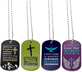 (12-Pack) Bible Dog Tag Necklaces, Assorted Colors - Religious Small Gifts in Bulk for Christian Wholesale Jewelry, Baptism Party Favors - Christian Gifts for Youth Teens Adults Boys Girls Men Women