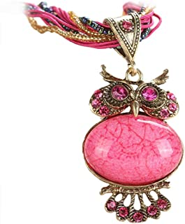 Jewelry Womens Bohemian Rhinestone Owl Charm Animal Gemstone Pendant Statement Necklace Long Chain 22''
