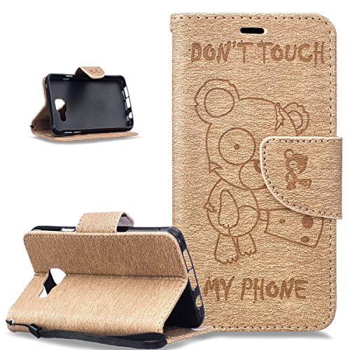 Coque Galaxy A3 2016,Etui Galaxy A3 2016,Gaufrage Tronçonneuse ours Don't Touch Py Phone Housse Cuir PU Etui Housse Coque Portefeuille supporter Flip Case Etui Housse Coque pour Galaxy A3 2016,Gold