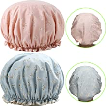 Shower Cap, TooCoo Double Waterproof Layers Women Bath Shower Hat, Fashionable EVA Bathing Shower Caps [2Pack (Flowers)]