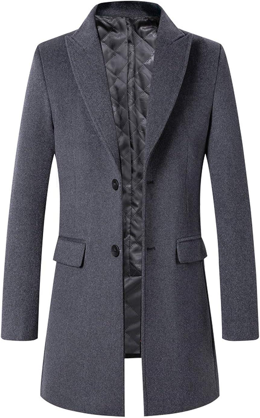 GGUHHU Mens Premium Lapel Collar 2 Buttons Wool Blend Slim Woolen Coat Windbreaker