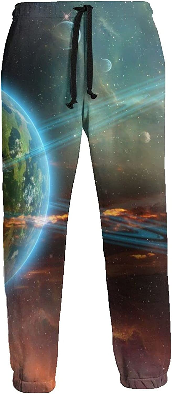 Mens Elastic Waist Sweatpants Billion Planets Galaxy Joggers Sweatpants for Gym Training Sport Pants