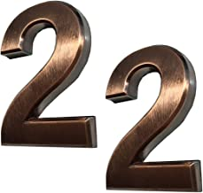 2 Pack Mailbox Numbers 2, 3 Inch House Door Address Number Stickers for Apartments, Double 2, Bronze Shining, Antique Style, by FANXUS. (3