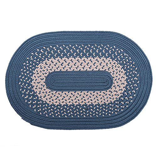 LOCHAS Braided Area Rug Hand Woven Reversible Oval Carpet for Living Room Bedroom Kitchen Bath Rugs, 1.6' x 2.5'