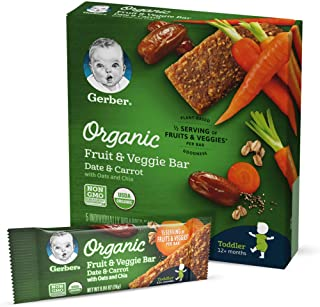 Gerber Organic Fruit & Veggie Bar, Date & Carrot, Box of 5 (Pack of 8)