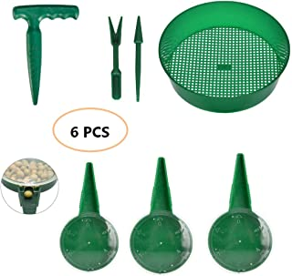 ZLY 7PCS Adjustable Hand Held Garden Flower Plant Grass Seeds Planter Dial Sower Sowing Seeder,Sifting Pan,Seedlings Dibber and Widger