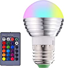 #N/A LED Light Bulb Dimmable, RGB Color Changing Light Bulb 3W Decorative Smart LED Bulb for Party Home