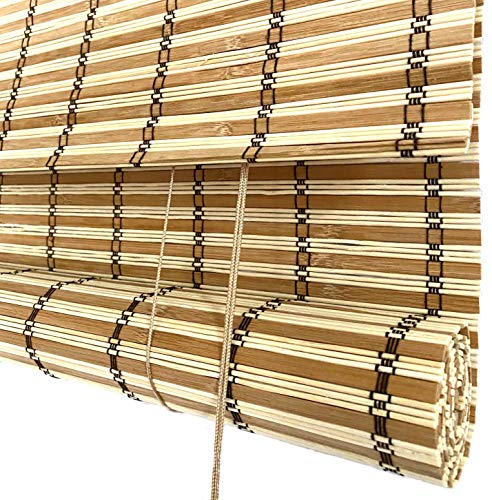 THY COLLECTIBLE Bamboo Roll Up Window Blind Sun Shade, Light Filtering Roller Shades with 9-Inch Valence - Natural and Light Bamboo (44' x 64')