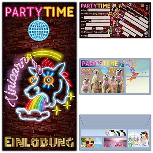 12-er Set UNICORN Einladungskarten mit Umschlag zum Kindergeburtstag oder Party - Einhorn Einladungen für Kinder Teenager Erwachsene von BREITENWERK