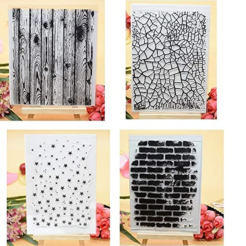 Welcome to Joyful Home 4pcs/Set Wooden Background Rubber Clear Stamp for Card Making Decoration and Scrapbooking