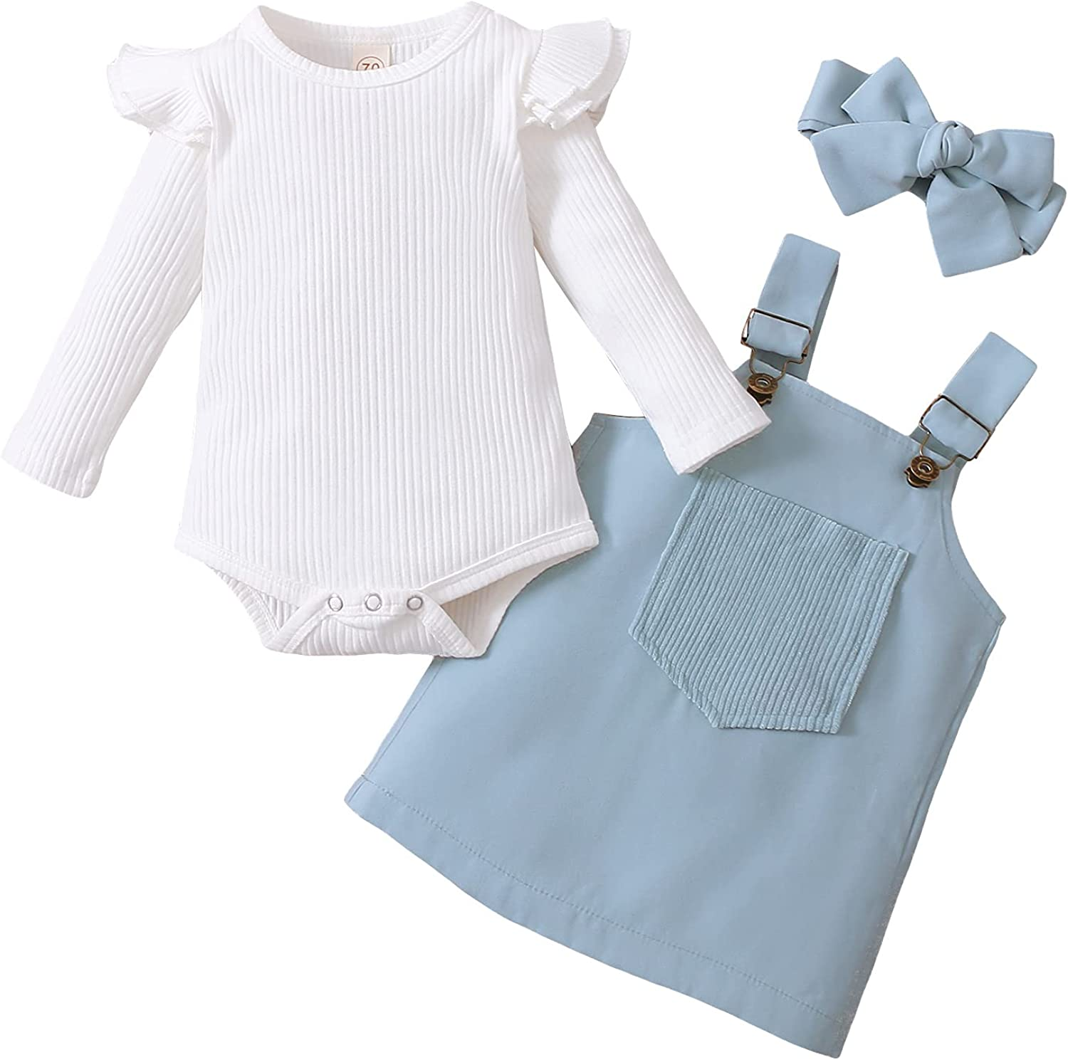 Newborn Baby Girl Clothes Fall Winter Outfits Toddler Girl Skirt Set Long Sleeve Ribbed Romper Overall Dress Headband