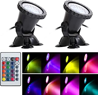 WEGEEY Pond Light, Waterproof IP68 Underwater Submersible Spotlights with Remote, 36 LED Multi-Color & Adjustable & Dimmable Aquarium Garden Fountain Waterfall Pool Tank Lights (2-Pack (Upgraded))