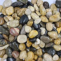 YISHANG 18 Pounds River Rocks, Pebbles, Garden Outdoor Decorative Stones, Natural Polished Mixed Color Stones for Landscaping, Home Decor etc. (1.2-2.4 Inches)