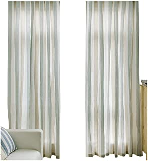 Habigua Simple Style Sheer Curtain Classic Vertical Striped Pattern Window Voile Rod Picket Panel for Bedroom & Living Room(1 Panel,W50 x L84inch, Grey)