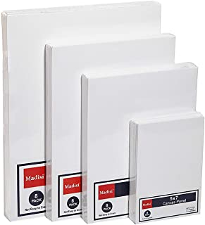 Madisi Painting Canvas Panels Multi Pack, 5x7, 8x10, 9x12, 11x14(8 of Each), 32 Pack