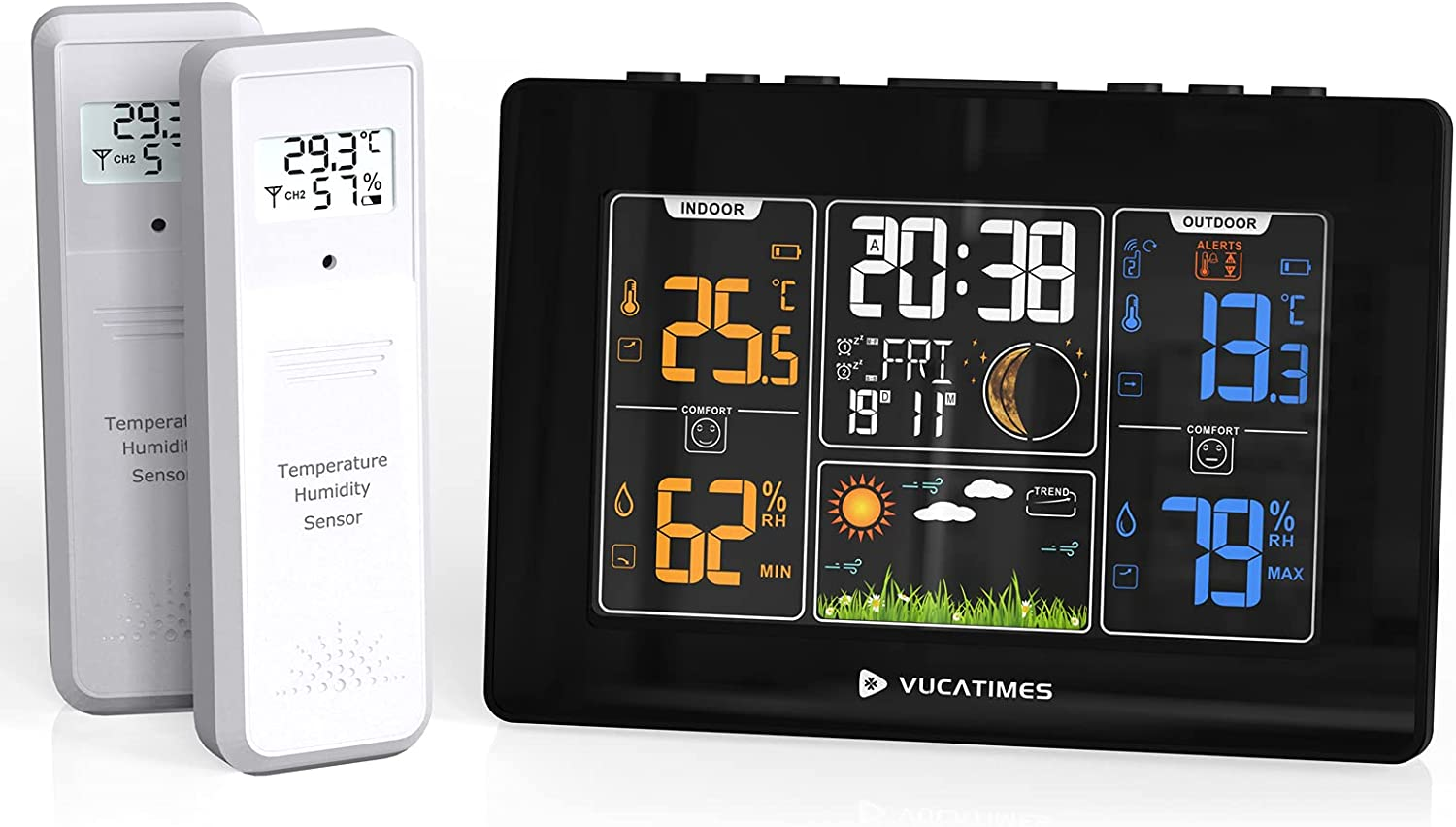 VUCATIMES Quality inspection W1 Indoor Outdoor Weather Station Wholesale Wireless Thermometer