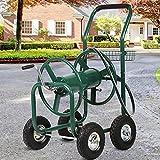 Garden Hose Reel Cart with Wheels, Holds 300-Feet of 5/8-Inch Hose, Heavy Duty Yard Water Planting 4 Wheels Outdoor Garden Lawn Water Truck with Storage Basket, Green