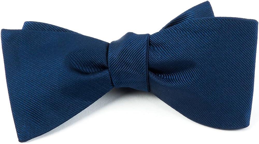 100% Silk Woven Navy Blue Grosgrain Solid Bow Tie