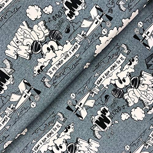 Swafing GmbH Disney Jersey Mickey Mouse Schriftzug - Stoff - Meterware - 0,5m x VB