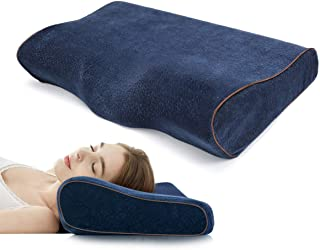 Memory Foam Pillow Bed Neck Pillow Contour Cervical for Side Sleeper Sofa Hotel Car Indoor Home Bedroom Office (Blue)