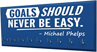 RunningontheWall Swimming Medal Holder, Swimming Gifts for Girls Goals Should Never BE Easy -Michael Phelps Swimmer Gifts, Swimming Medals Ribbons Display Kids