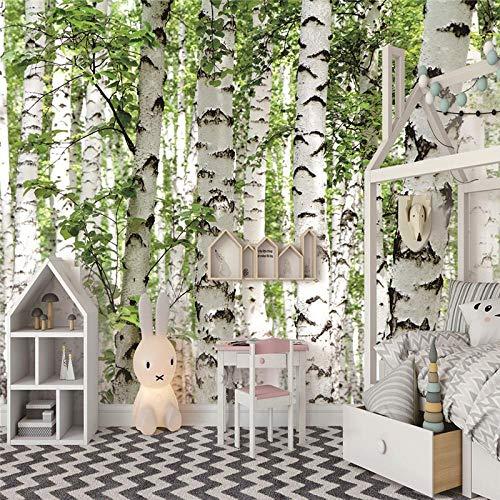 Fototapeten 3D Birkenwald Moderne Vlies Wand Tapete Dekoration Für Schlafzimmer Wohnzimmer Kinderzimmer 250CMx175CM