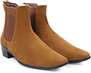 BXXY Mens Suede Height Increasing Casual Chelsea Boots