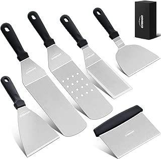 Overmont Espátula y Raspador 6 piezas Kit de Herramientas de Parrilla Barbacoa Teppanyaki Accesorios de Acero Inoxidable para Grill Hibachi BBQ Camping Cocina Apto Lavavajillas