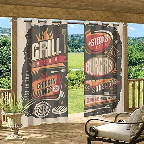 Anmaseven BBQ Party Outdoor Sheer Curtain Outdoor Heat and Full Light Blocking Drapes Grill Menu Design with Steaks Burgers Wings Sausages Ribs and Bacon Retro Effect Multicolor 96' W by 72' L