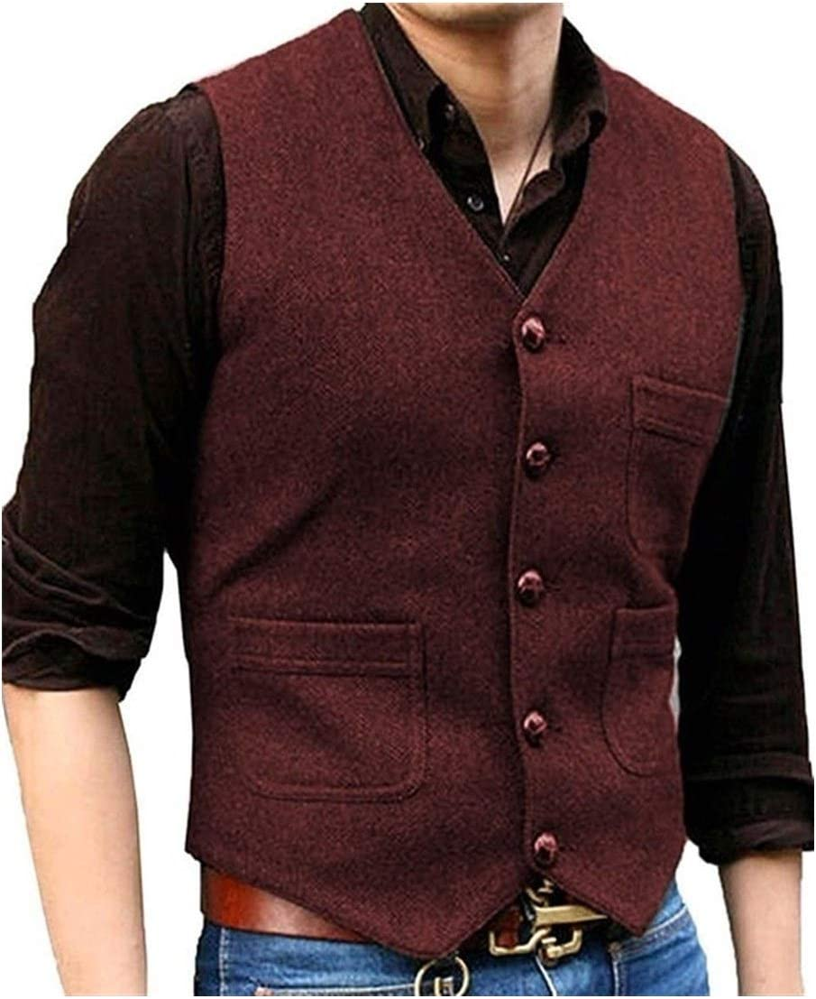 QWERBAM Men's Suit V Max 44% OFF Neck 2021new shipping free shipping Wool Tweed Waistcoat Herringbone Busin