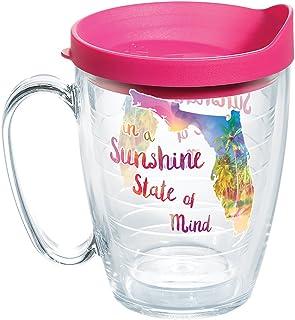 Tervis 1271467 Florida - Sunshine State Of Mind Tumbler with Wrap and Fuchsia Lid 16oz Mug, Clear