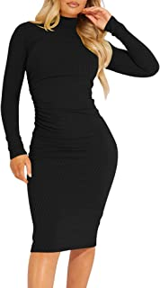 Kaximil Women's Ribbed Basic Casual Midi Dress Long Sleeve Bodycon Ruched Club Dresses