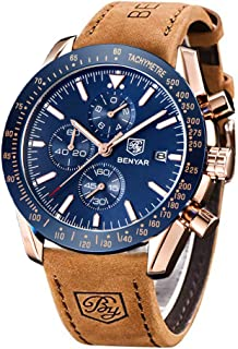 BY BENYAR BENYAR Classic Fashion Elegant Chronograph Watch Casual Sport Leather Band Mens Watches 5140L