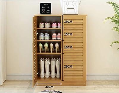 KELE Simple Gabinete para Zapatos, Madera sólida con doo con cajón Estanteria de Zapatos Ahorro