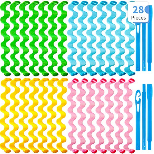 28 Pieces Hair Curlers Spiral Curls No Heat Wave Hair Curlers Styling...