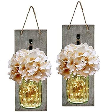 ADOSOUL Rustic Mason Jar Wall Decor Sconces - Decorative Home Lighted Country House Hanging with LED Fairy Strip Lights and Flowers Hydrangea Farmhouse Sconce Jars