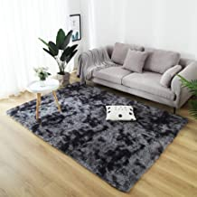 Modern Cozy Shaggy Floor Rug Home Decor Mats Sittingroom Motley Tie-dye Carpet Blanket Grey 4 x 5.3ft
