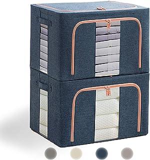 収納ケース 衣類,Eascity 22L 無臭綿麻 (39×29×20cm)内側撥水加工 防塵 収納ボックス 衣類 折りたたみ 取っ手付き 透明窓付き大容量 布団 洋服 収納,便利両開き 2個組 (ネイビー)