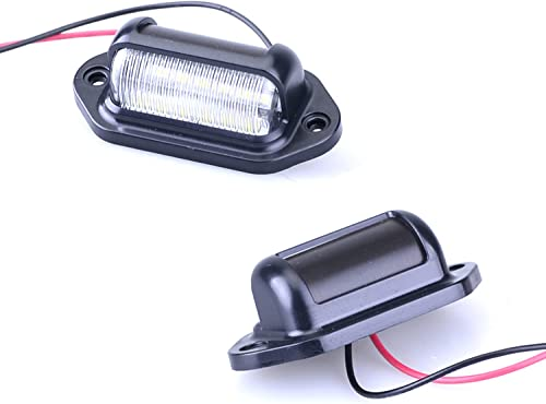 new arrival Mallofusa 2PCS LED White Red LED License Plate Light, 12V-24V DC Waterproof outlet online sale 12-SMD License Plate Lamp Taillight Universal high quality For Truck SUV Trailer Van RV Boats, Dome/Cargo Lights outlet online sale