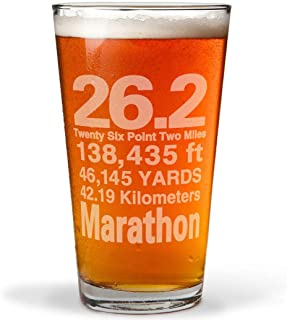 26.2 Math Miles Engraved Beer Pint Glass By Gone For a Run   16 oz.
