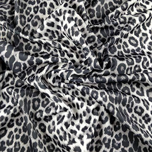 FS005_4 Scuba-Schneiderstoff Leopardenmuster | Schwarz / Silber / Weiß gepunktet | Meterware | Polyester, Elasthan