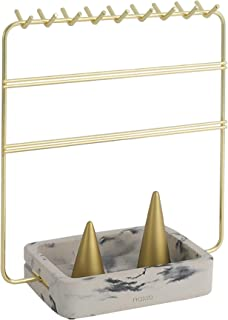 Nakko Modern Jewelry Organizer | Gold Metal 3 Tier Necklace and Earring Display Rack with Ring Holder (Gold + Marble)